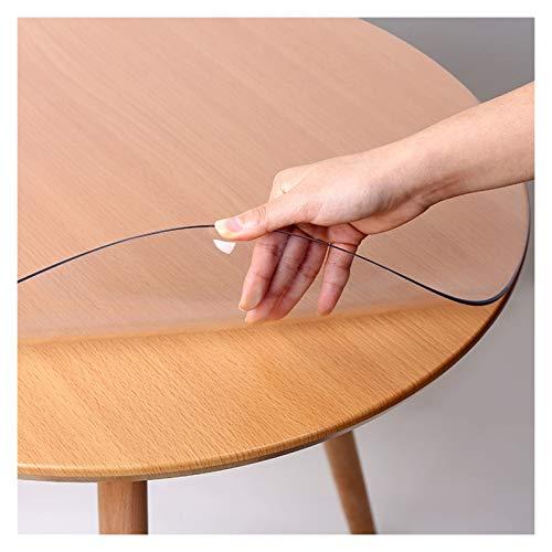 AWSAD Protector de Mesa Redonda Plástico, 1,5 Mm / 2 Mm Mantel Claro Sin Olor Resistente al Rayado Resistente al Calor Placa de Vidrio Plástico (Color : Clear-2mm/Round, Size : 120cm)
