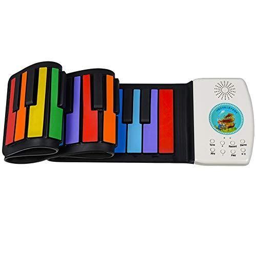 SMAA Silikon-Roll Up Piano, Multifunktions 49 Tasten Flexible E-Piano, Mikrofon, Wiederaufladbare mit Buil-Lautsprecher für pädagogisches Spielzeug Christams Geschenke,Rainbow