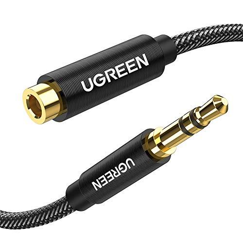 UGREEN オーディオ延長ケーブル ヘッドホン 延長コード 3.5mm高音質 ステレオミニプラグ 延長 ナイロン編み 10000回以上曲げ耐久テスト スピーカー、PC、スマホ、TV、車、等に対応 (3M)