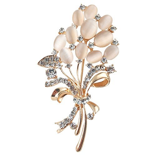 Merdia Floral Flower Brooches Wedding Bouquets with Beautiful Created Cat's Eye for Elegant Women -Light Beige