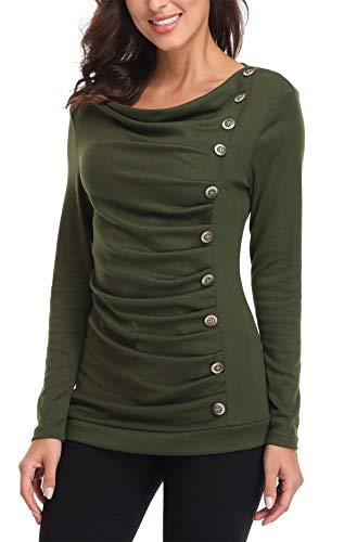 MISS MOLY Damen Langarmshirt Pullover Tunika Bluse T Shirt mit Knöpfen Grün Medium