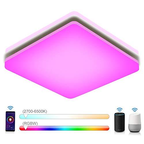 Oeegoo RGB Led Deckenleuchte Dimmbar, 18W 1800LM Led Deckenlampe Dimmbar mit Fernbedienung, Farbwechsel IP54 Wasserfest Led Leuchte für Kinderzimmer, Wohnzimmer, Schlafzimmer, Küche, Büro, Badezimmer