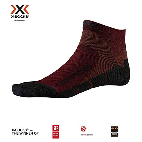 X-Socks Run Discovery Chaussette Mixte Adulte -Dark Ruby/Opal Black, 42-44
