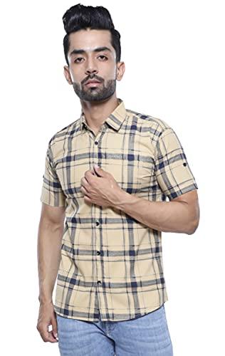 BASE 41 Men's Checkered Slim Fit Casual Shirt