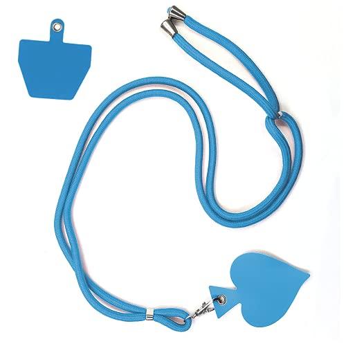 TOFBS Universale Cordino per Telefono Cinghie da Collo e 2 Patch di Telefono Durevole, Cordino da Collo per Cellularecon Patch Compatibile con Maggior Parte di Smartphone per Porta Badge ID (Blue)