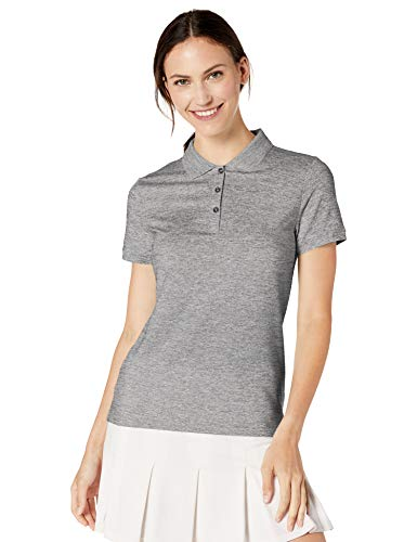Amazon Essentials Damen-Poloshirt mit kurzen Ärmeln, Grau (Grey Spacedye), S