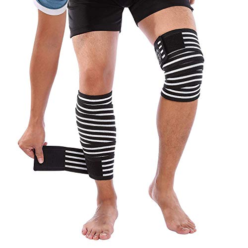 Compression Knee Wrap Bandages Knee Brace Support, Elastic Knee Bandage Sleeve Protector to Prevent Thigh Calf Stiffness, Stabilising Ligaments,Relieve Joint Pain, 1 Pair Knee Straps for Men and Women