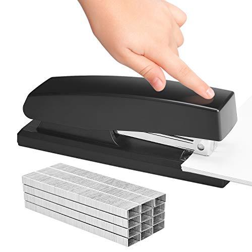 KangBaz Stapler, Office Stapler with 5000 Staples,Classic Desktop Stapler and White Steel Staples, 20 Sheet Capacity(26/6),1/4 inch Staples, Staples Standard,Jam Free,Non-Slip,Black Photo #2