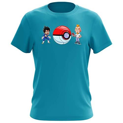 T-shirt Homme Bleu Turquoise parodie Dragon Ball Z - Pokémon - Végéta et sa Capsule pimpé à la sauce Pokéball - Pimp My Capsule ! (T-shirt de qualité premium de taille XXL - imprimé en France)