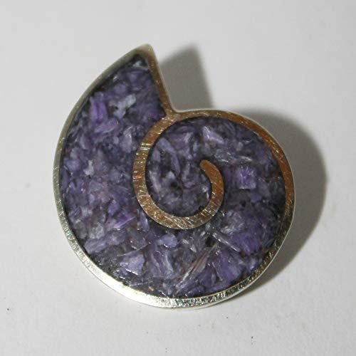 TIny ammonite brooch, madewith charoite