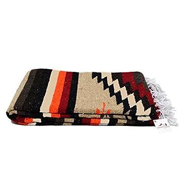 Open Road Goods Aztec Navajo Style Blanket, Throw, or Yoga Bolster - Handwoven Mexican Diamond Blanket - Brown
