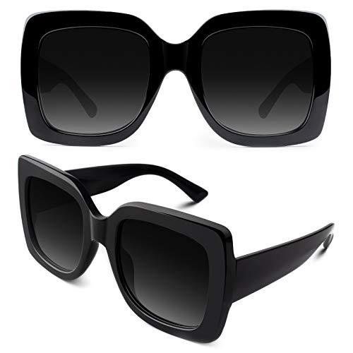 GQUEEN Oversized Damen Sonnenbrille mit Rechtecktigem Rahmen Mehrfach Getönte Glitzer Design Inspirierte Stilvolle Brillen S904