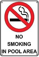 2個 プールエリアでの禁煙錫サイン金属プレート装飾サイン家の装飾プラークサイン地下鉄金属プレート8x12インチ メタルプレート レトロ アメリカン ブリキ 看板