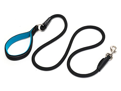 Happilax Führleine aus Robustem Seil, Hundeleine mit Gepolsterter, Reflektierender Hand-Schlaufe, Schwarz, 1,50 m
