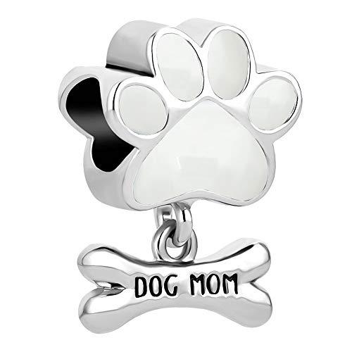 Sug Jasmin - Abalorio con forma de huella de perro y hueso con inscripción «Dog mom», compatible con pulseras europeas