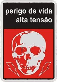 """Placa Sinalizadora Auto-Adesiva""""Perigo Alta Tensão"""" 16x23cm Sinalize 15015"""
