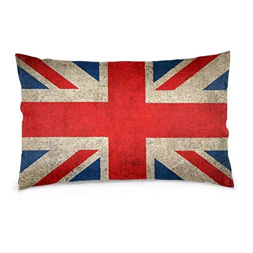 """Bettiboy Funda de cojín Cuadrada, diseño de Bandera de Reino Unido, decoración para sofá, Cama, Boda, poliéster, Blanco, 16""""x24"""""""