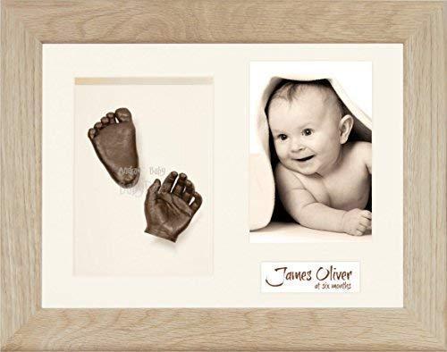 BabyRice 11.5 x 8.5-inch Baby Casting Kit, Solid Oak 3D Box Frame (Bronze Metallic)