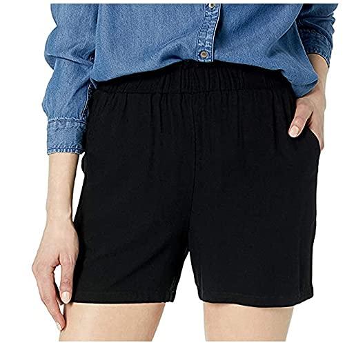 Pantalones Cortos de Cintura Elástica Shorts de Color Sólido Pantalón Cortos con Bolsillos Pantalones Cortos Casual Verano Pantalones Cortos Suelta Pantalón Cortos Vida Cotidiana