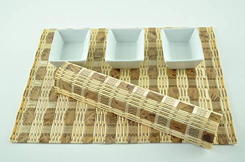 CP012 Lot de 4 sets de table rectangulaires en bois de bambou de qualité supérieure respectueux de l'environnement Marron clair