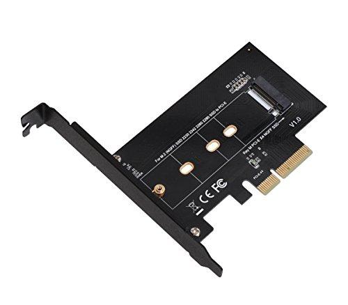 SIIG M.2 NGFF SSD (M Key) auf PCIe 3.0 x4 Card Adapter für 2230, 2242, 2260, 2280 M.2 PCIe Host Controller Erweiterungskarte SSDs NVMe oder AHCI – (SC-M20014-S1), Schwarz