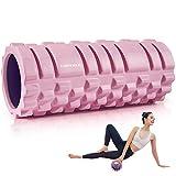 EVERYMILE フォームローラー ストレッチ 筋膜リリース 体幹トレーニング 肩こり予防 柔軟性を高め EVA素材 日本説明書付き (ピンク)