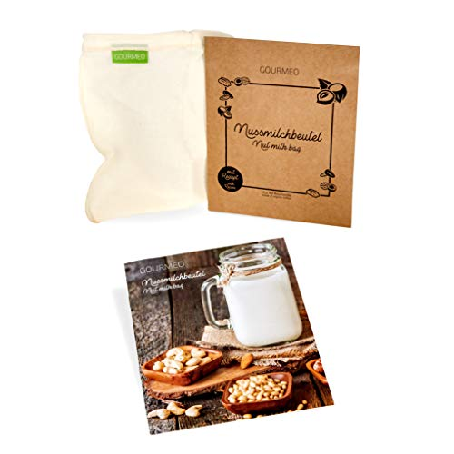 GOURMEO Nussmilchbeutel Bio Baumwolle U-förmig für vegane Nussmilch & Mandelmilch - Feinmaschiges Filtertuch, Seiher, Passiertuch
