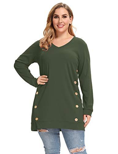 LARACE Plus Size Sweatshirts For Women Tops V-neck Side Split Button Up Shirts Long Sleeve Lightweight T-shirts
