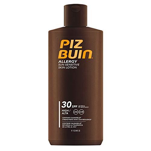 Piz Buin Allergy Sun Sensitive Skin Lotion LSF 30, schnell einziehende Allergiker Sonnencreme mit Schutzkomplex gegen Hautirritationen (1 x 200 ml)