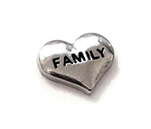 Memoria de estar flotando encantos de la familia del corazón colgante collar