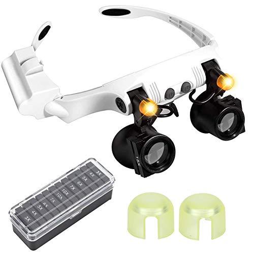 Lupa de Tipo anteojos, Gafas Lupa de Gran Aumento Lentes 3.0X-10.0X Ajustable Soporte con 2 Luces LED Leer, Modelismo, Soldar, Extensiones de Pestañas, Reparación Joyería