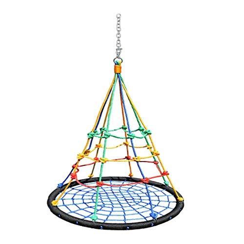 FQCD Spinnennetz Schaukel Baum Schaukelnetz Schaukelplattform Seilschaukel Nylonseil Abnehmbar mit Karabinern Verstellbare Hängeseile