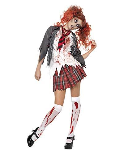 Zombie Kostüm Damen Schoolgirl Look für Halloween u Karneval 3-teilig Jacke mit Shirt, Rock, Krawatte - S
