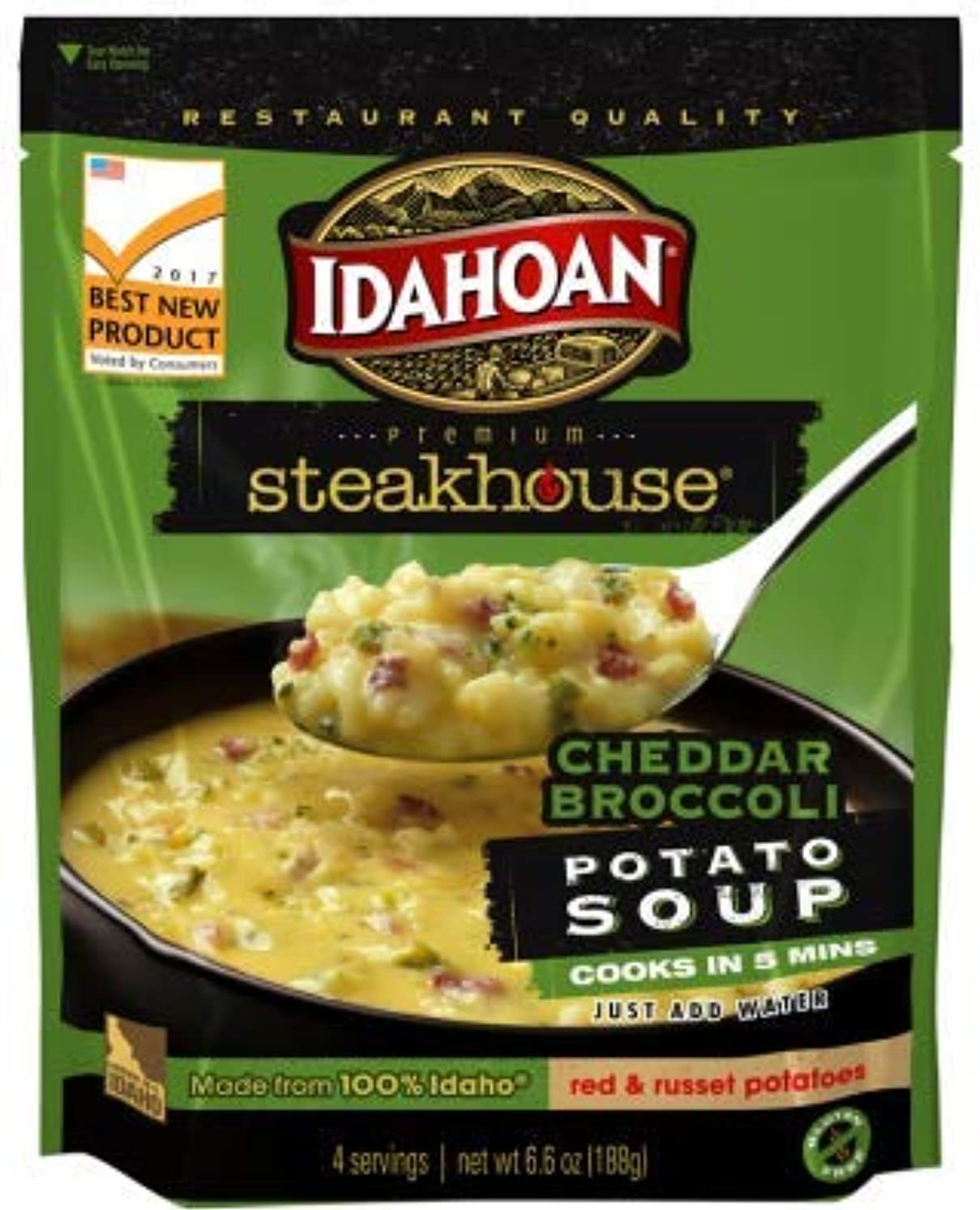 Idahoan Steakhouse Cheddar Potato Soup, Made with Gluten-Free 100-Percent Real Idaho Potatoes, 6.6 oz Pouch (Pack of 8)