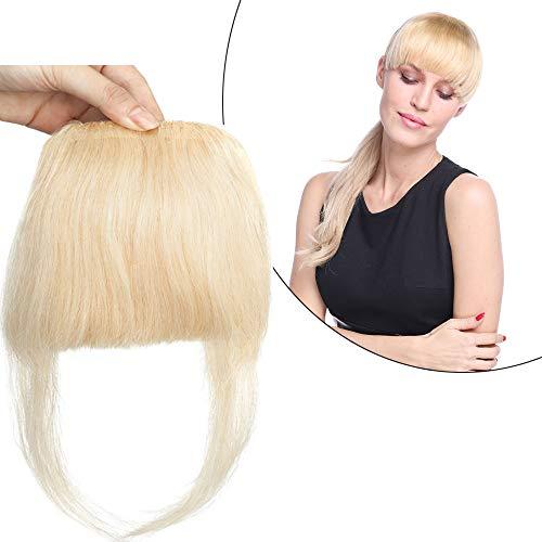 S-noilite Extensions Echthaar Clip In Pony Haarteil Bangs Verlängerungen der menschlichen Haare 2 Clips Mit Seite Tempe 23g Hellblond#613