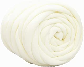 Chunky Thick Yarn for Arm Knitting Crocheting, Cozy Cotton Tube Yarn, 34 oz / 131ft White..