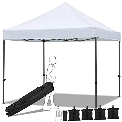 YAHEETECH Canopy Tent Pop up Canopy Commercial Instant Shelter with Wheeled Carry Bag, Bonus 4 Canopy Sand Bags, 10x10 FT White