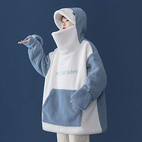ADWA Cardigan à capuche décontracté à manches longues en laine d'agneau pour homme et femme Automne et hiver 2020 Grande taille Manteau en coton pour homme Veste polaire épaisse Bleu_L