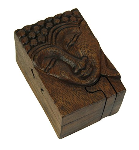 Zeckos Hand Crafted Wood Happy Buddha Puzzle Trinket Box