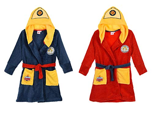 Feuerwehrmann-Sam Kinder-Bademantel Morgenmantel mit Kapuze, Farbe:Rot, Größe:98 (3 A)