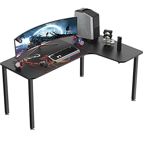 EUREKA ERGONOMIC 60 Inch Black Corner L Shaped Computer Desk, Home Office Gaming Study Work Writing Table Long Large Sturdy Workstation Simple Modern with Metal Legs, Right Side