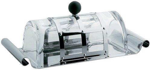 Alessi Butterdose aus Edelstahl mit Deckel aus Kristall und Knob aus PA, schwarz