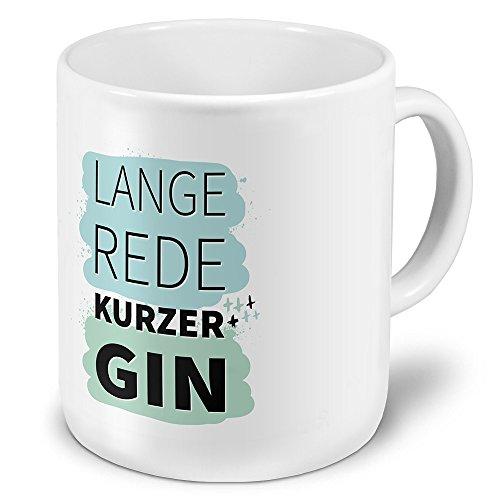 printplanet XXL Riesen-Tasse mit Spruch: Lange Rede kurzer Gin - Kaffeebecher, Sprüchebecher Becher, Mug