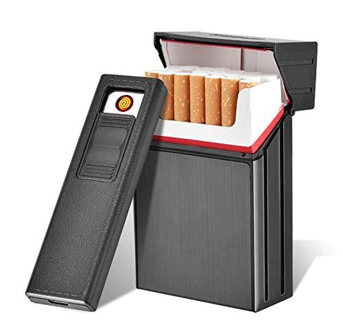 20 piezas de aluminio caja de cigarrillos con USB extraíble recargable encendedor de cigarrillos para hombre y caja de cigarrillos portátil negro