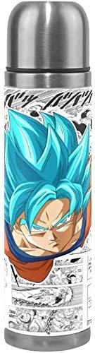 NR Dragon-Ball Super Goku Blue Zeitung Comics Edelstahl Doppelschicht Vakuumisolierte Tasse Reisebecher Kaffeetasse Lederholster Heiße und kalte Isolierung - Auslaufsicher, kein BPA - 17 Unzen