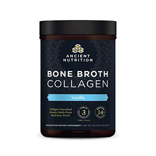 Bone Broth Collagen Powder Vanilla, Food-Sourced Hydrolyzed Multi Collagen Supplement, Supports Joints, Skin and Nails, Formulated by Dr. Josh Axe, Non GMO, Gluten Free, Made Without Dairy, 18.3oz