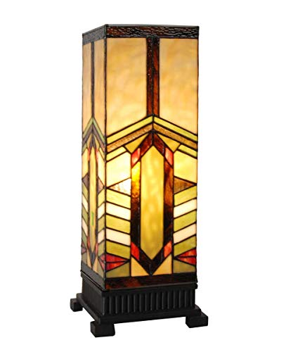 """17.25"""" H Stained Glass Mission Style Stone Mountain Pillar Table Lamp"""