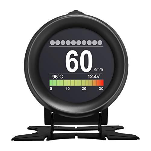 Medidor Turbo Coche Digital, AUTOOL Velocímetro Coche OBD escáner digital medidor velocidad Alarma Temperatura del agua Medidor Voltaje de coche para 12V vehículo