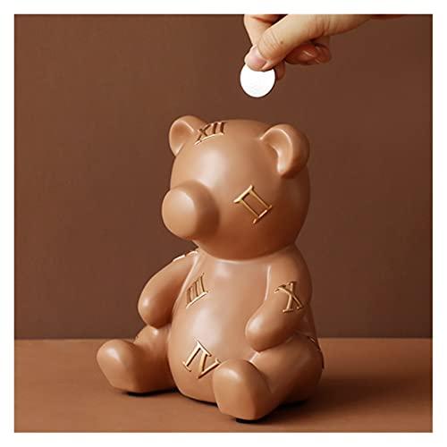 YSYSPUJ Hucha Big for For Kids Saving Pot Money Secret Storage Storage Cash Box Bear For Decor Home Piggy Coin Bank (Color : Brown)