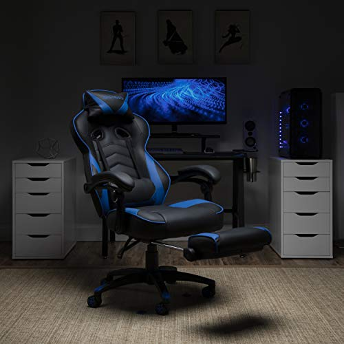 RESPAWN 110 Racing Style Gaming Chair, Reclining Ergonomic Leather Chair with Footrest, in Blue (RSP-110-BLU)